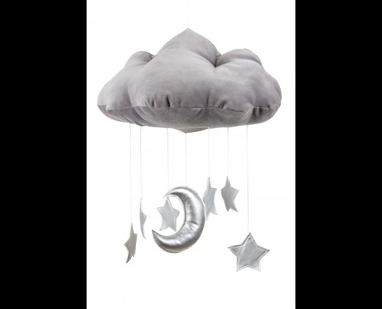 Grafitgrå sängmobil moln med silver stjärnor, Cotton & Sweets