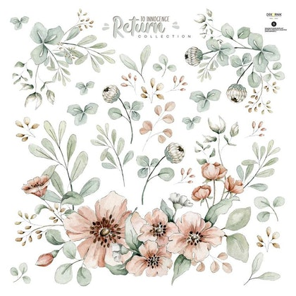 Dekornik, Väggklistermärken meadow flowers pastel