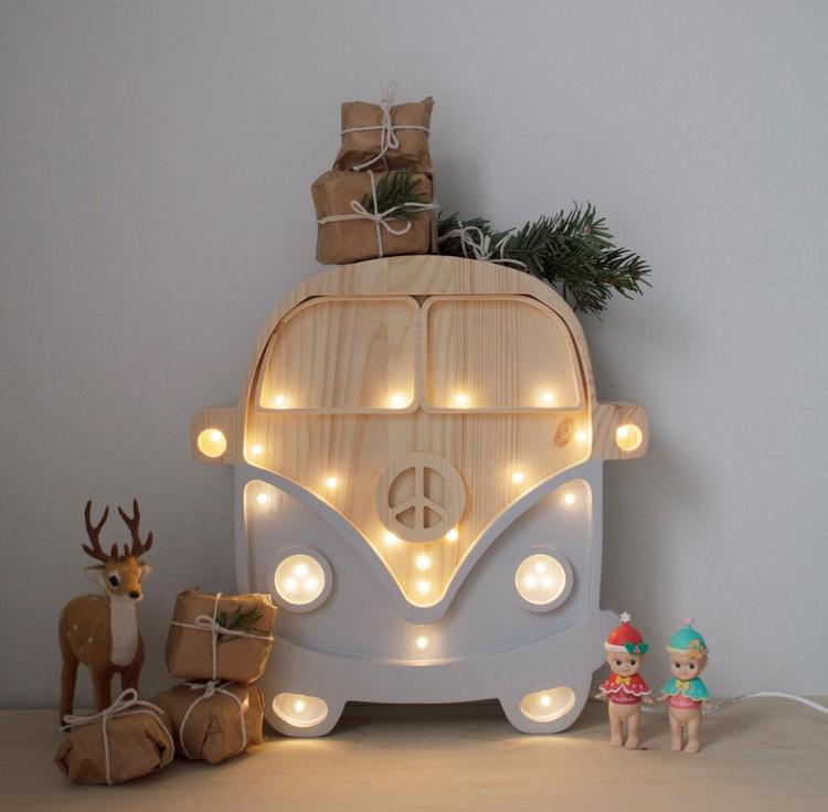 Nattlampa till barnrummet grå buss, Little Lights