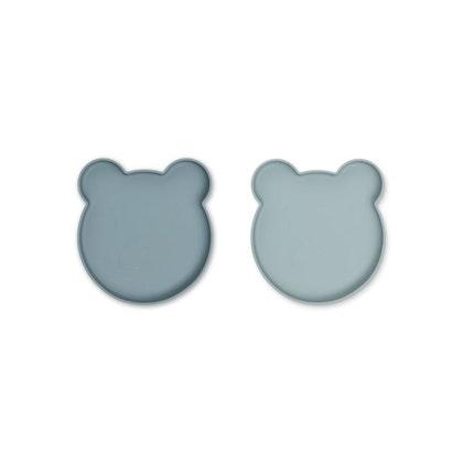 Liewood, Marty silikontallrik 2-pack, Mr bear blue mix