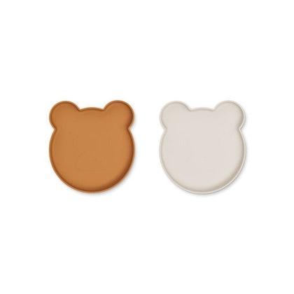 Liewood, Marty silikontallrik 2-pack, Mr bear golden caramel/sandy mix