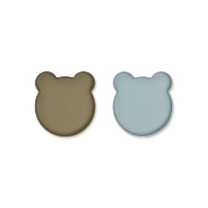 Liewood, Marty silikontallrik 2-pack, Mr bear khaki/blue fog mix