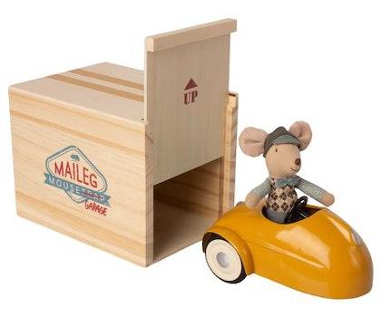 Maileg, mus med gul bil & garage