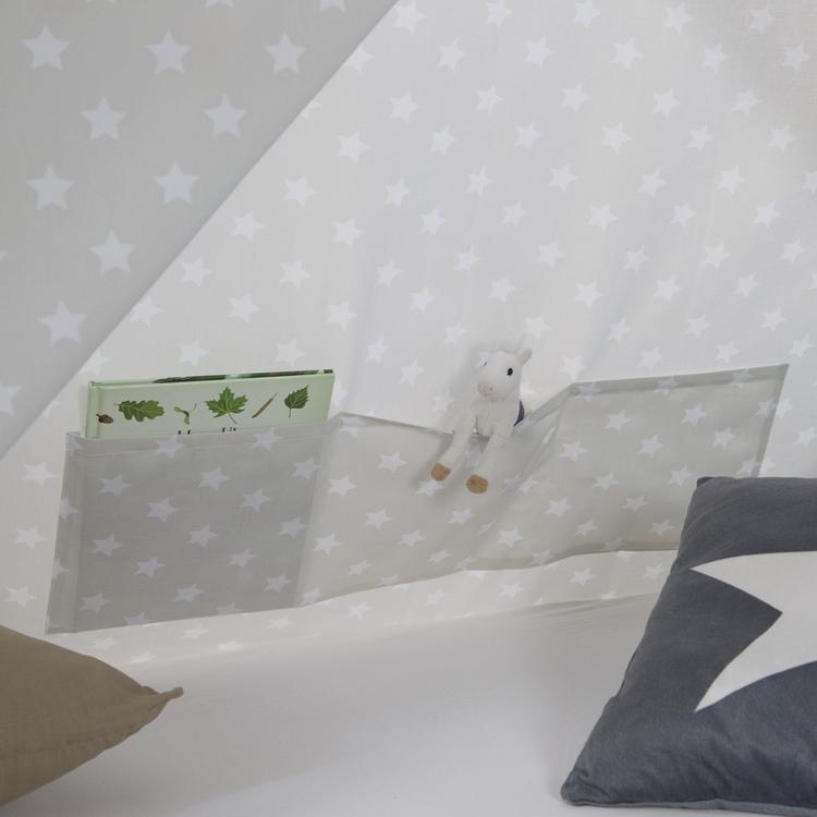 Grå hussäng tipi med gardin och förvaringslådor 90x200