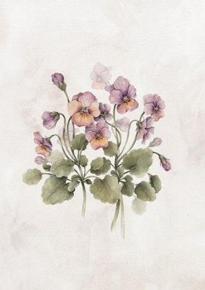 Poster vintage violer,  poster till barnrummet