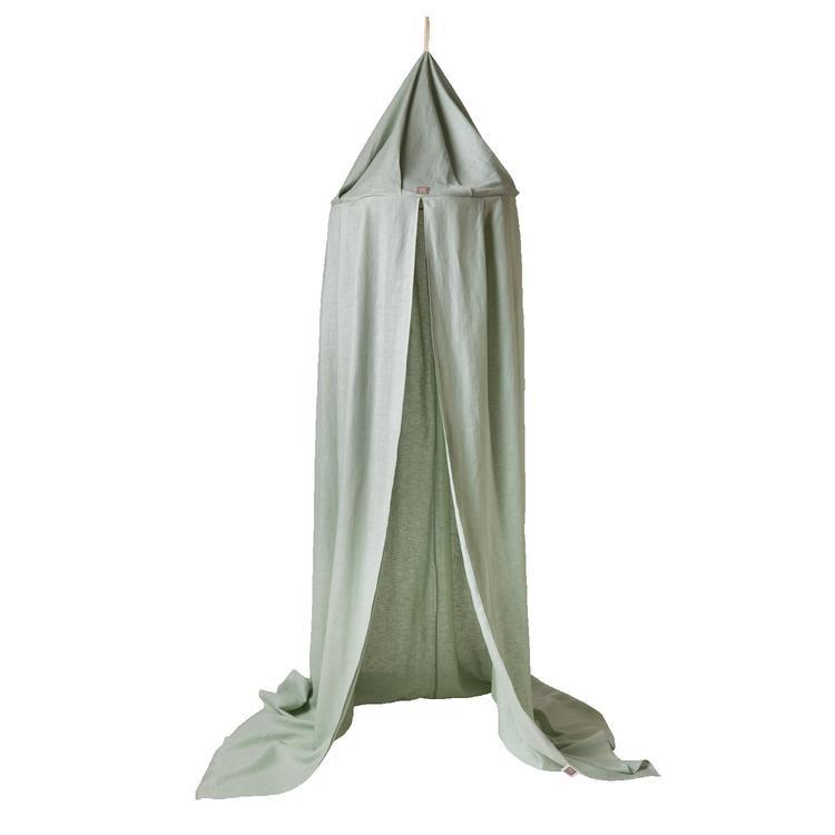 Ng Baby, Sage green sänghimmel till barnrum med ljusslinga