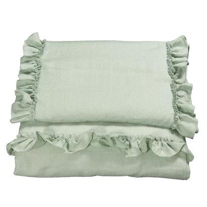 Ng Baby Påslakan av linne med VOLANG, Sage green