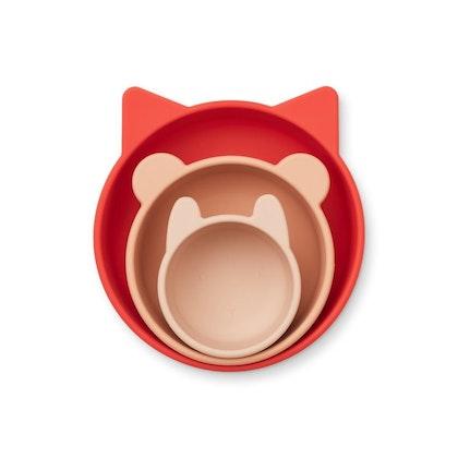 Liewood, 3-pack silikon snack skål för barn, Eddie apple red