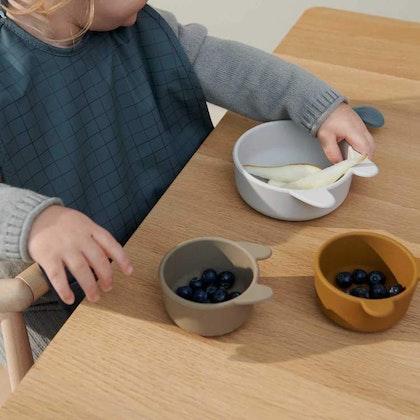 Liewood, 3-pack silikon snack skål för barn, Eddie sandy khaki