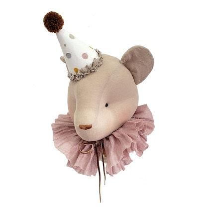 Väggdekoration beige björn med rosa krage, djurhuvud i linne
