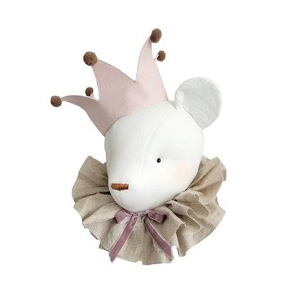 Väggdekoration cream björn med rosa krona, djurhuvud i linne