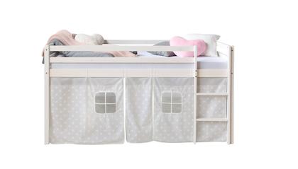 Vit loftsäng till barnrummet med sänggardin