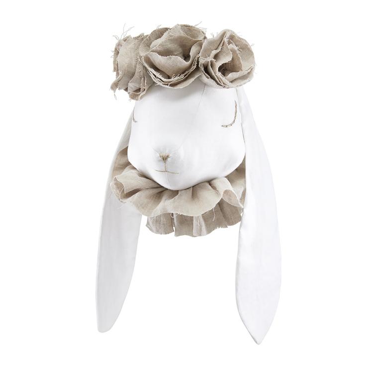 Djurhuvud magisk beige kanin, väggdekoration till barnrummet