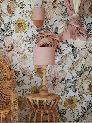 Bordslampa till barnrummet, rosa linne