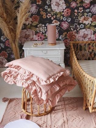 Rosa linne bäddset 100x135 cm med fyllning, spjälsäng