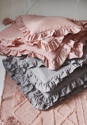 Grå linne bäddset 100x135 cm med fyllning, spjälsäng