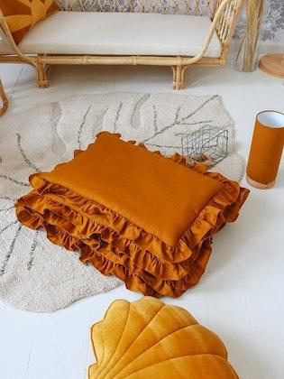 Mustard linne bäddset 100x135 cm med fyllning, spjälsäng