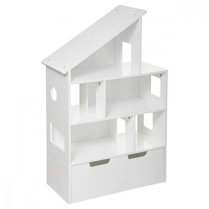 Bokhylla med förvaringslåda, vit hus