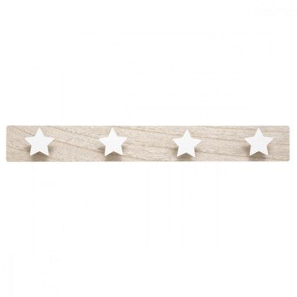 Hängare krokbräda vita stjärnor trä