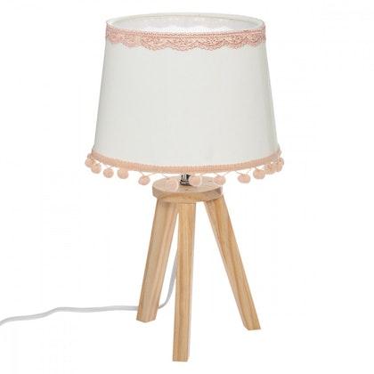 Bordslampa med pompom till barnrummet, vit/rosa