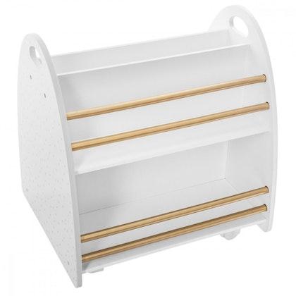 Tvåsidig vit förvaringslåda för böcker till barnrummet
