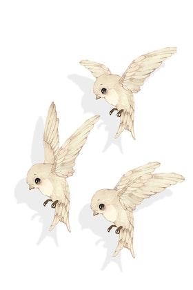 Mrs Mighetto, väggklistermärke 3-pack Oh Birdie Fly!