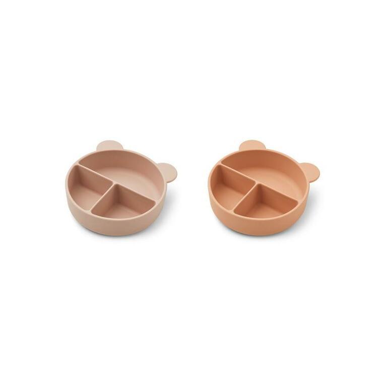 Liewood, Connie 2-pack silikonskål med fack, Rose mix
