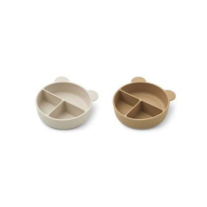 Liewood, Connie 2-pack silikonskål med fack, Sandy mix