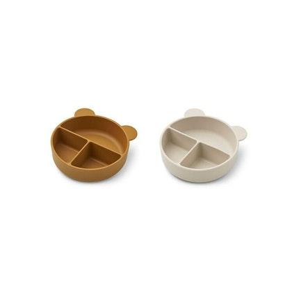 Liewood, Connie 2-pack silikonskål med fack, Golden caramel mix