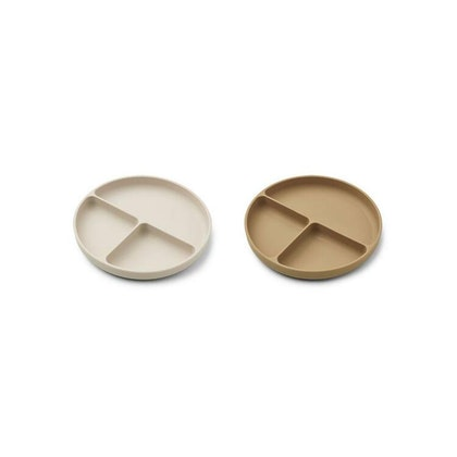 Liewood, Harvey 2-pack silikontallrik med fack, Sandy mix
