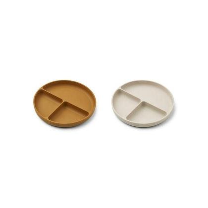 Liewood, Harvey 2-pack silikontallrik med fack, Golden caramel mix