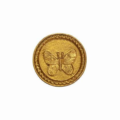 Sass & Belle, rund knopp guld fjäril