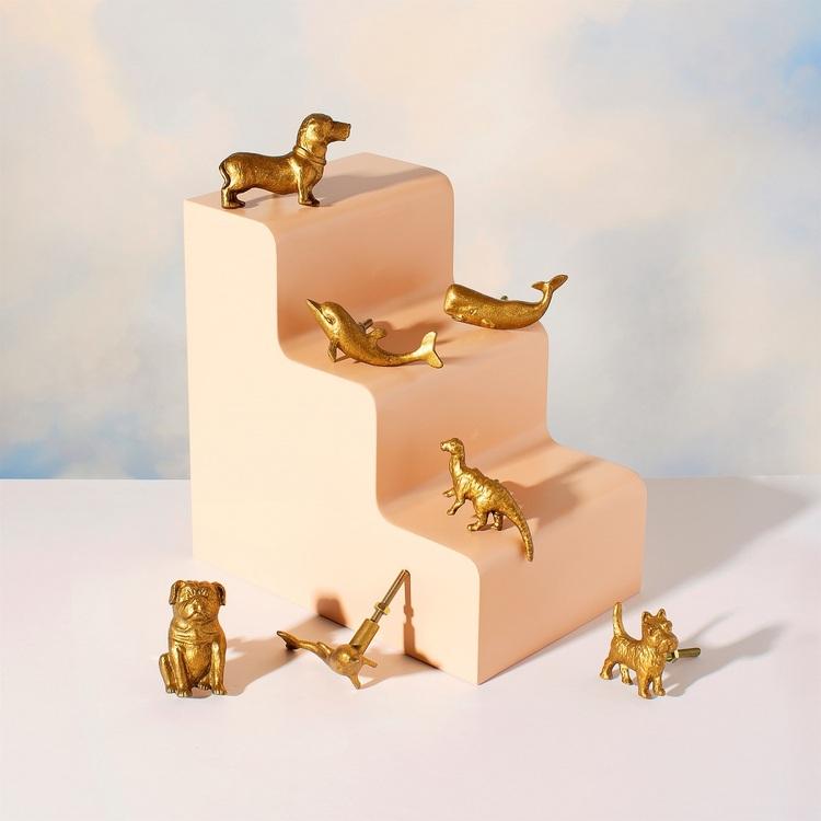 Sass & Belle, knopp guld dinosaurie