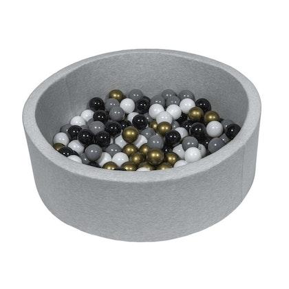 Ljusgrå bollhav BASIC, 90x30 med bollar (guld, grå, svart, vit)