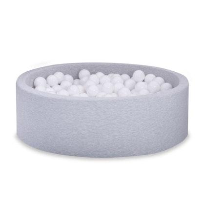 Ljusgrå bollhav BASIC, 90x30 med vita bollar