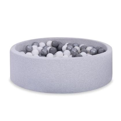 Ljusgrå bollhav BASIC, 90x30 med bollar (vit, pearl, grå, silver)