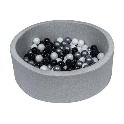 Ljusgrå bollhav BASIC, 90x30 med bollar (svart, silver, vit)