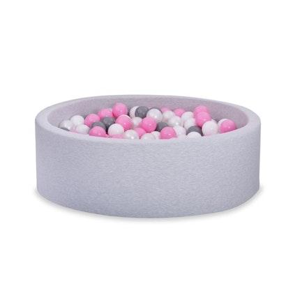 Ljusgrå bollhav BASIC, 90x30 med bollar (puderrosa, vit, pearl,grå)