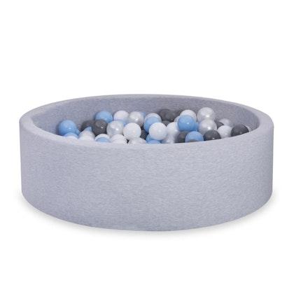 Ljusgrå bollhav BASIC, 90x30 med bollar (baby blå, grå, pearl,vit)