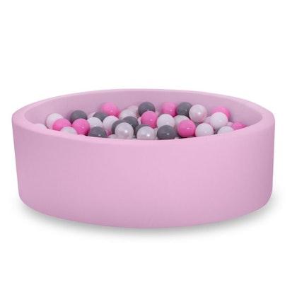 Rosa bollhav BASIC, 90x30 med bollar (grå,rosa,pearl,vit)
