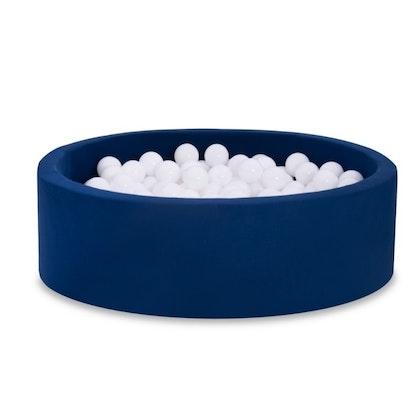 Mörkblå bollhav BASIC, 90x30 med vita bollar