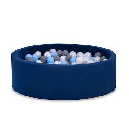 Mörkblå bollhav BASIC, 90x30 med bollar (baby blå, grå, pearl,vit)
