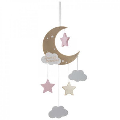 Sängmobil rosa måne