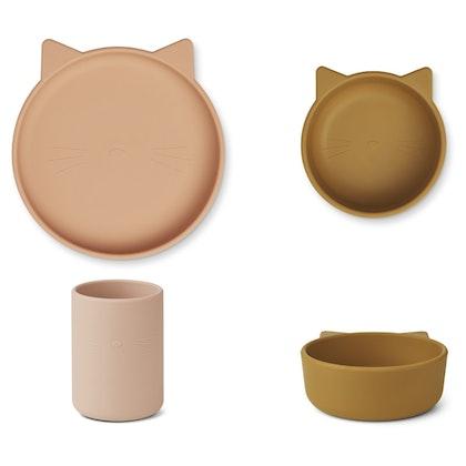 Liewood, Cyrus silikon matset 3 delar, cat rose mix