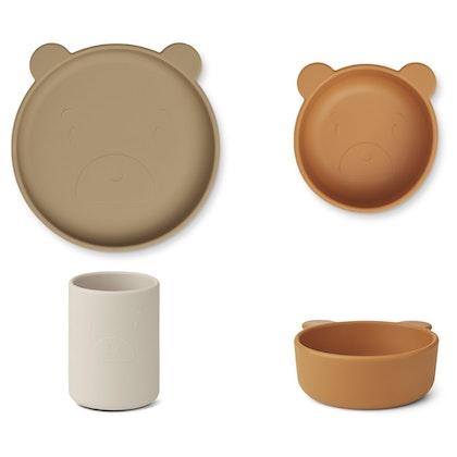 Liewood, Cyrus silikon matset 3 delar, Mr Bear oat mix