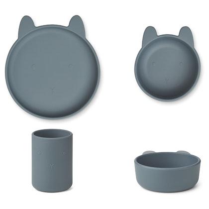 Liewood, Cyrus silikon matset 3 delar, Rabbit whale blue