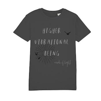 Ekologisk t-shirt 'Higher Vibrational Being' i antracitgrå