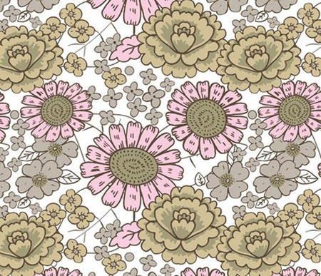 Blomster Beige #437, öko
