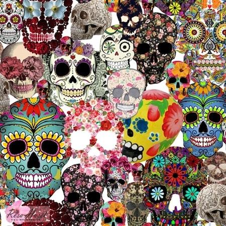 Döskallar Sugar Skulls #191, tygbild, öko