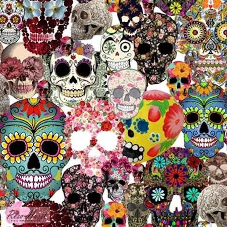 Mepstyg Döskallar Sugar Skulls #191, tygbild, öko